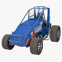 Non-wing Sprint Car Blue 3D Model