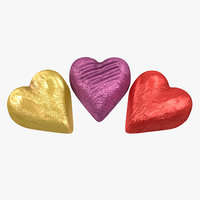 chocolate candy hearts foil 3d 3ds