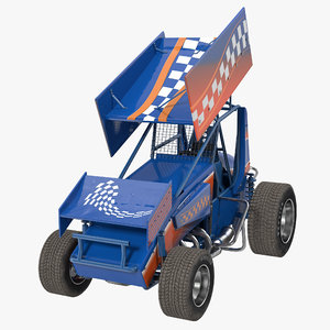 winged sprint car blue obj