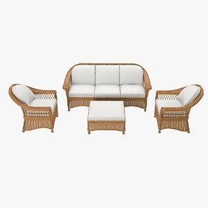 3d bridgeport woven furniture set model