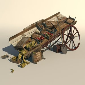 broken greengrocer cart 3d max