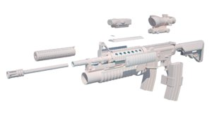 assault rifle modded colt 3d obj