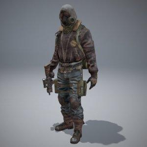 postapocalyptic character 3d x