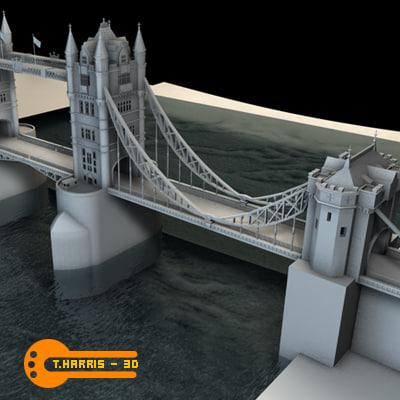 3d tower bridge model