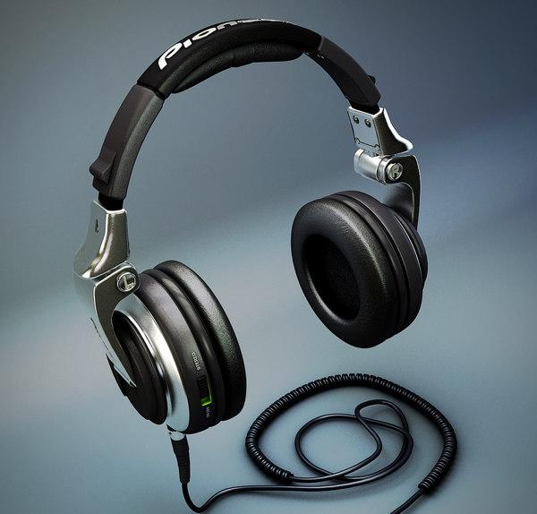3d c4d pioneer hdj-2000 dj headphones