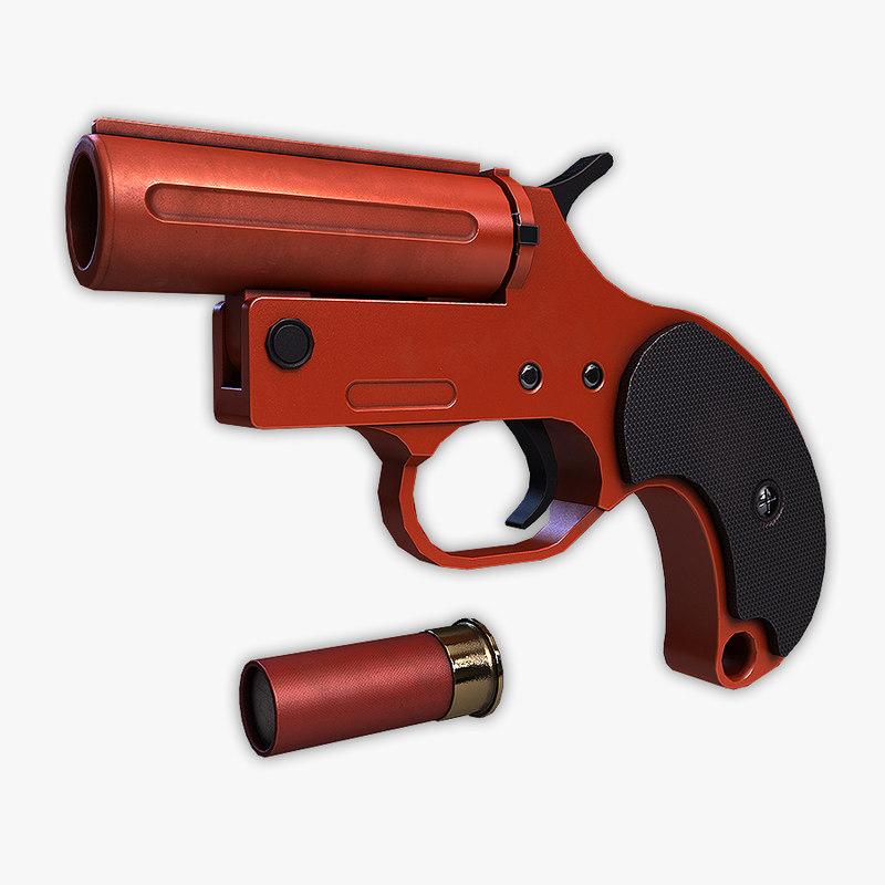 low-poly flare gun 3d model