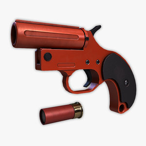 low-poly flare gun 3d model