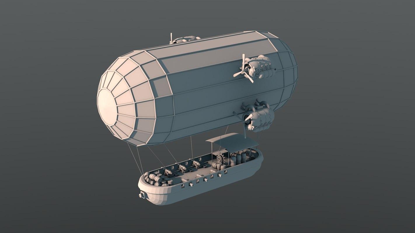 3d steampunk airship model