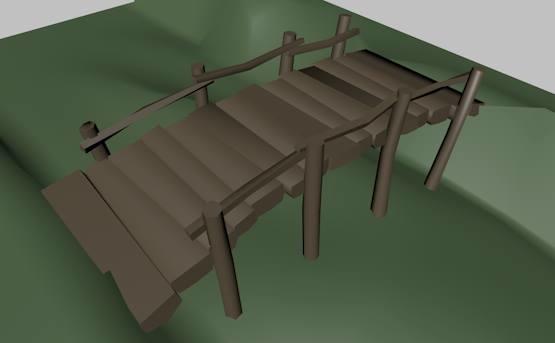 3d bridge crossing stream model