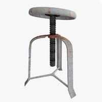 3d model rusty broken stool