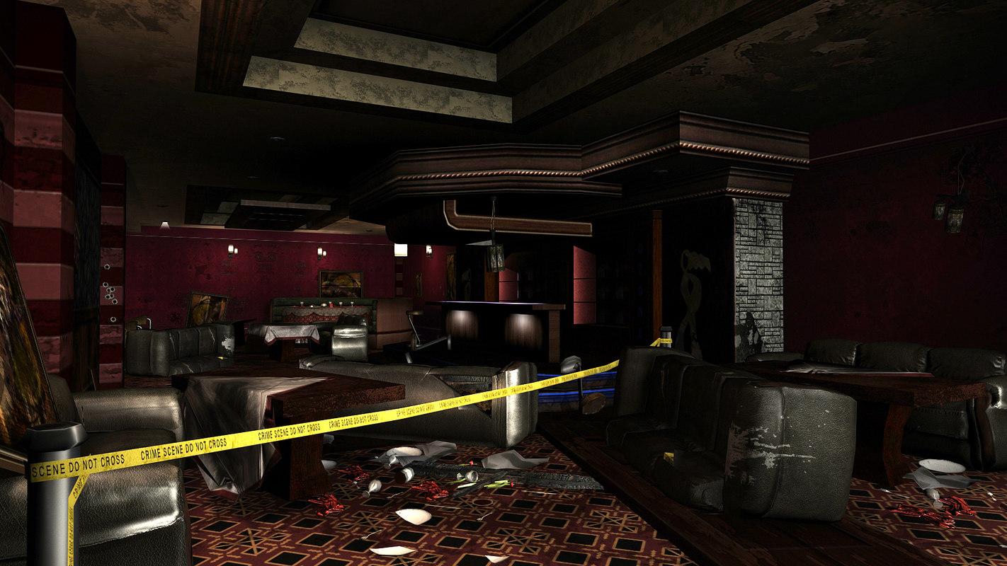 3d model destroyed lounge scene