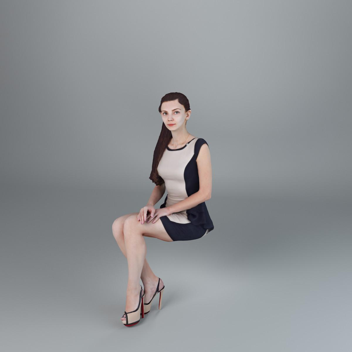 3d model woman casual sitting