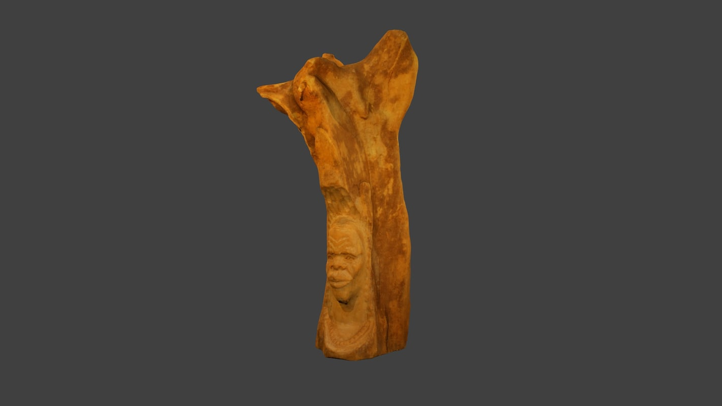 free fbx model small wooden statue