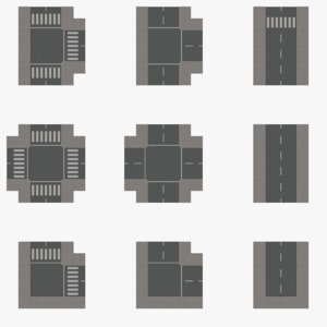 3d modular set road tiles