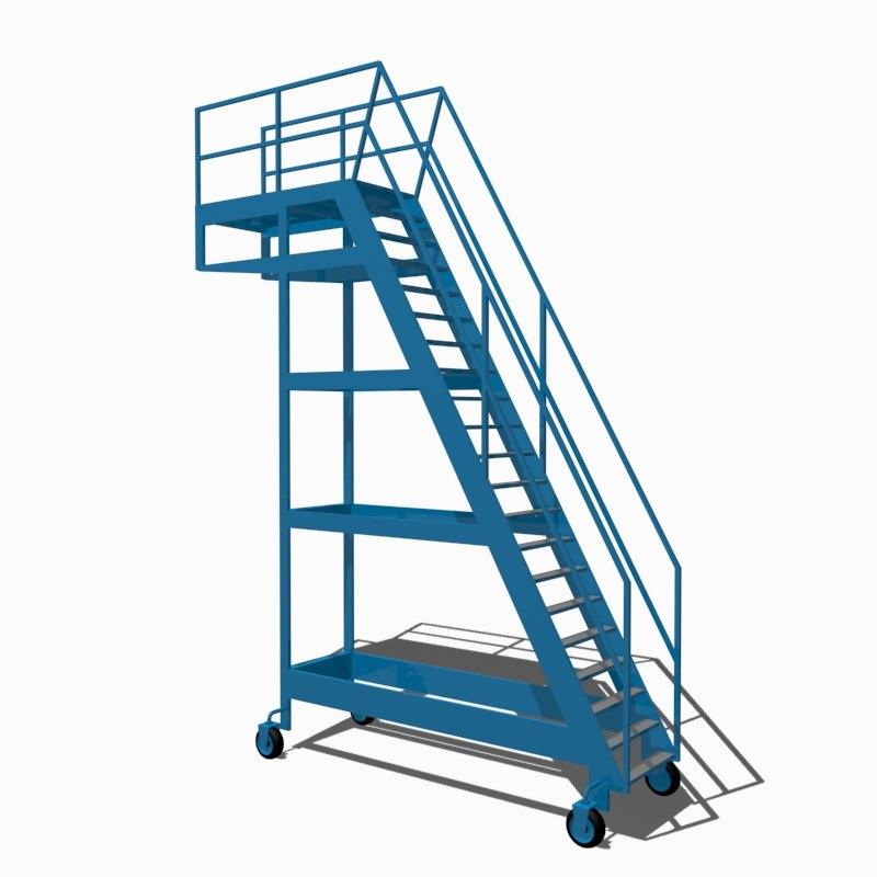 3d model industrial stair
