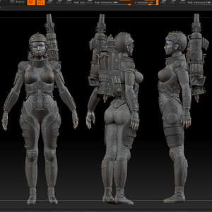 scifi cyberpunk soldier 3d model