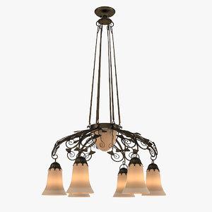 3d art nouveau chandelier model