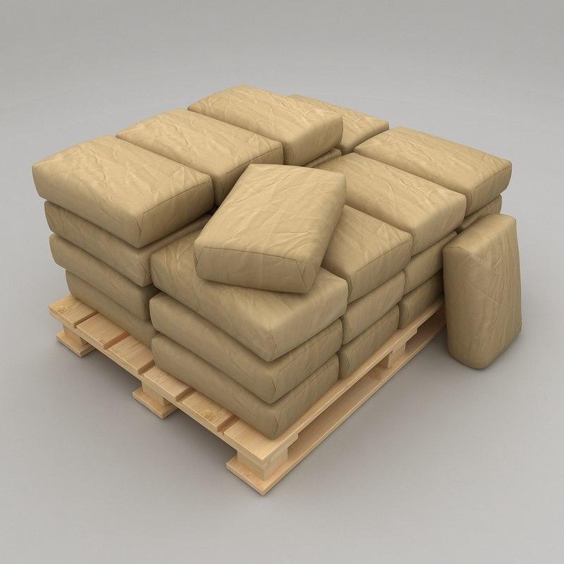 pallet paper packs bags 3d 3ds