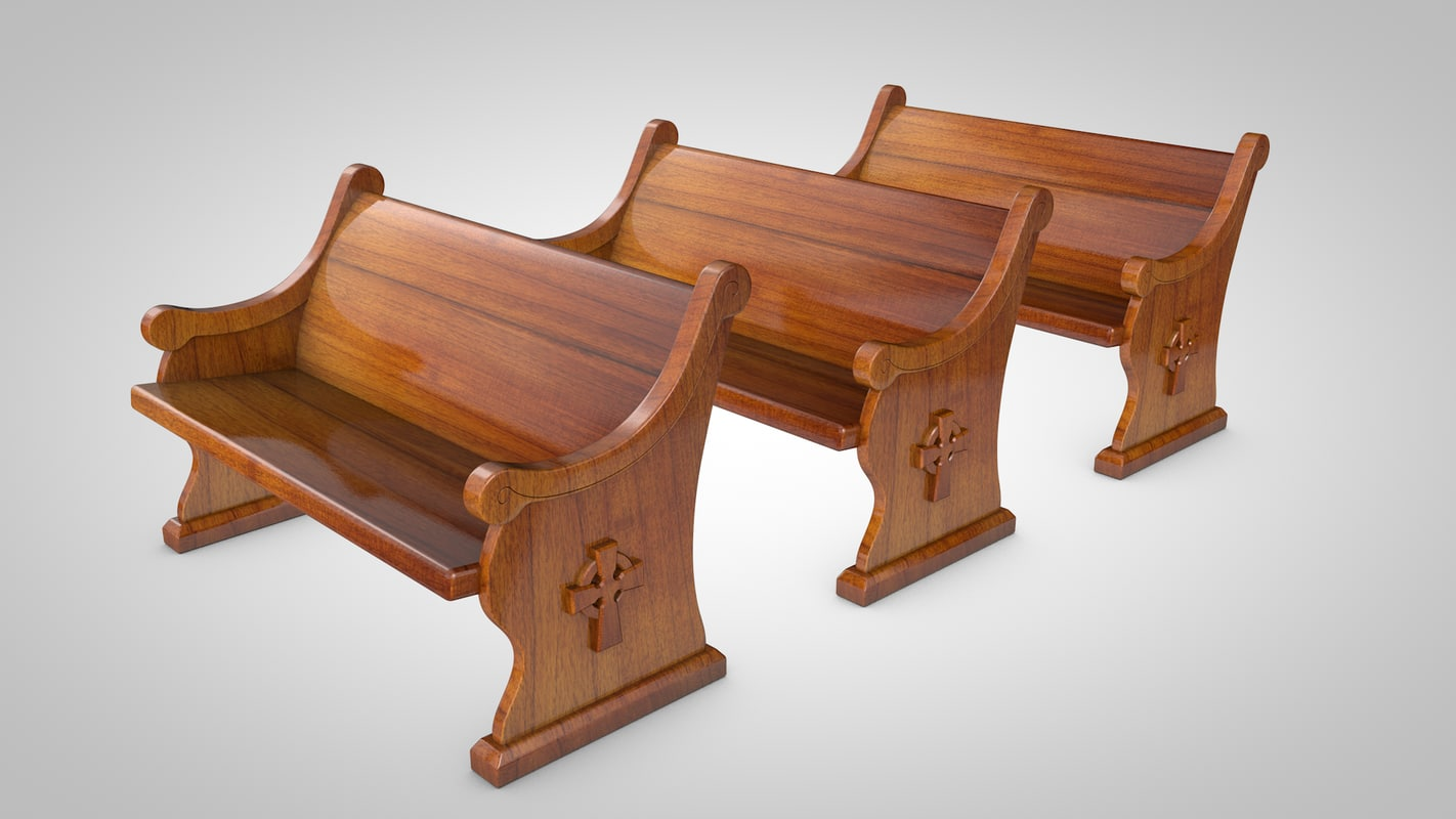 3d church pew model