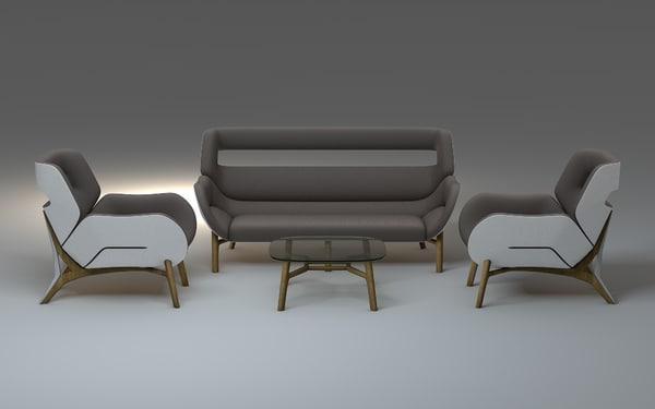 3d modern furniture set sofa