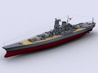yamato japanese battleships 3d max