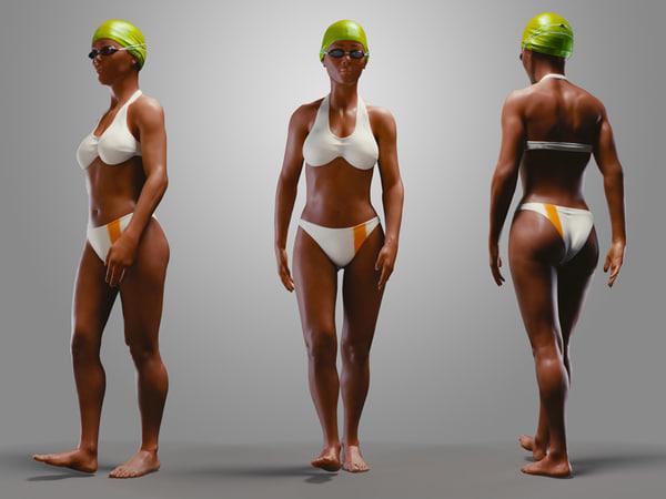 3d model casual swimmingpool girl
