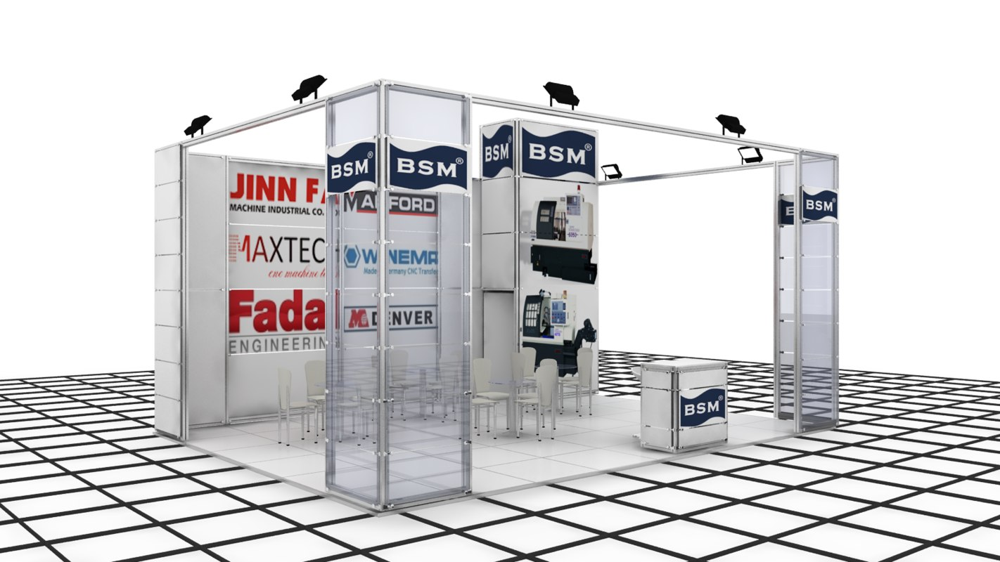 cnc exhibition stand design 3d model