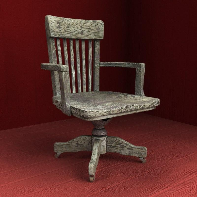 old wooden armchair 3d model