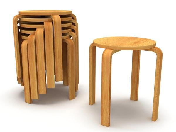 wood modern tabouret stool 3d max