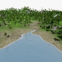 island tree palm 3d model