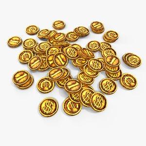 gold coins 3d max