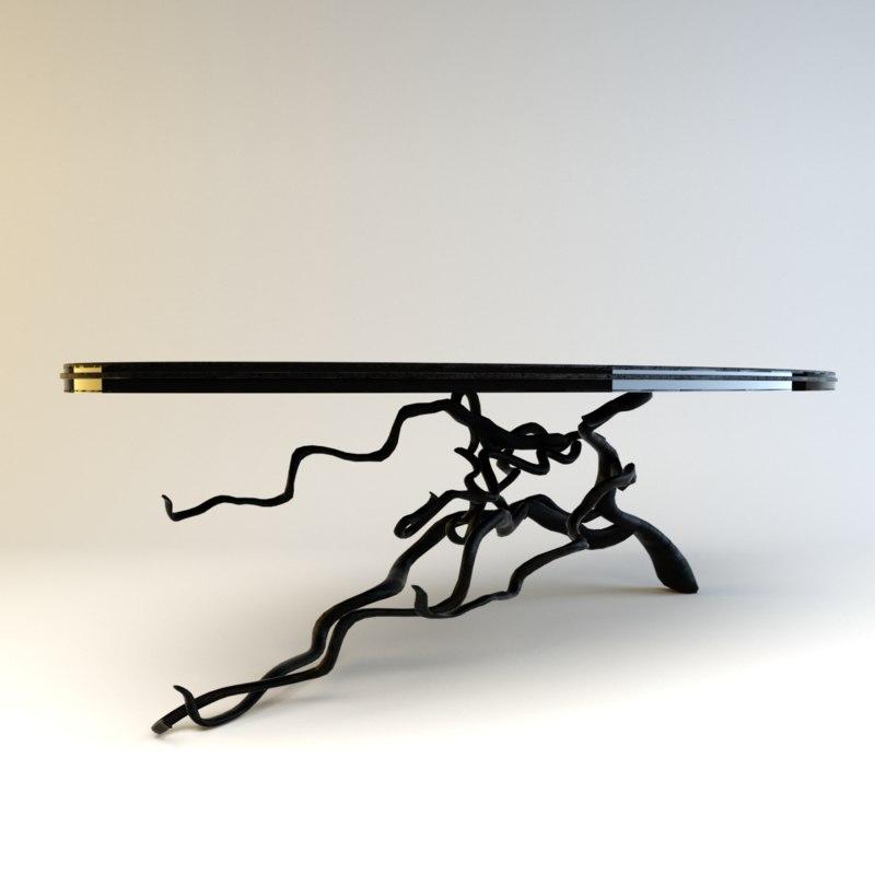 3d art nouveau table model
