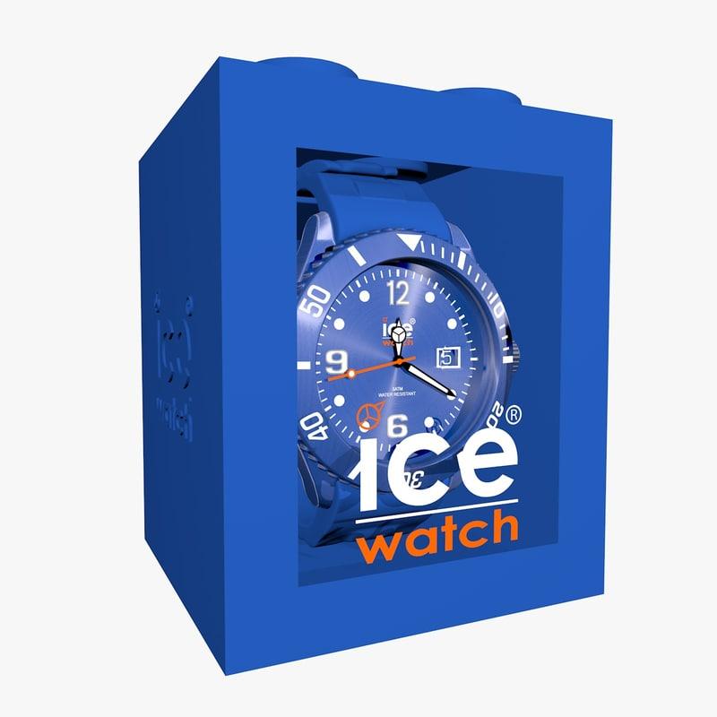blue ice watch 3d model