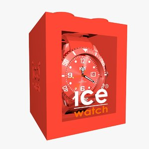 3d red ice watch model