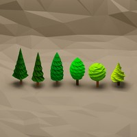 Cartoon low poly tree pack 4