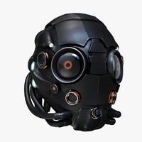 sci-fi helmet 3d c4d
