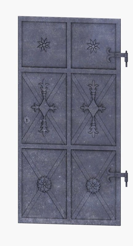 3d model low-poly medieval door