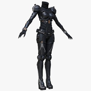 3d model of sci-fi suit female