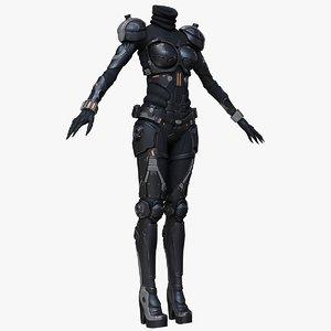 3d model of sci-fi suit female