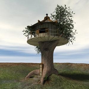 wooden house tree 3d model