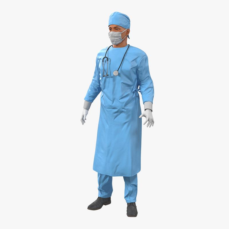 3d male surgeon mediterranean rigged