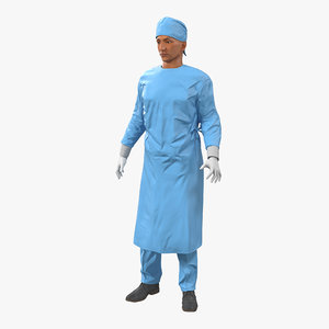 male surgeon mediterranean rigged 3d model