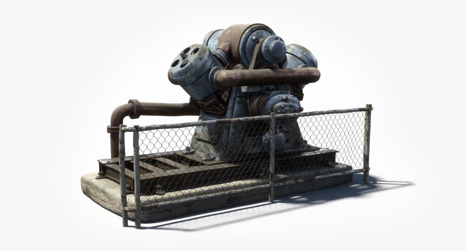 old factory generator machine 3d model