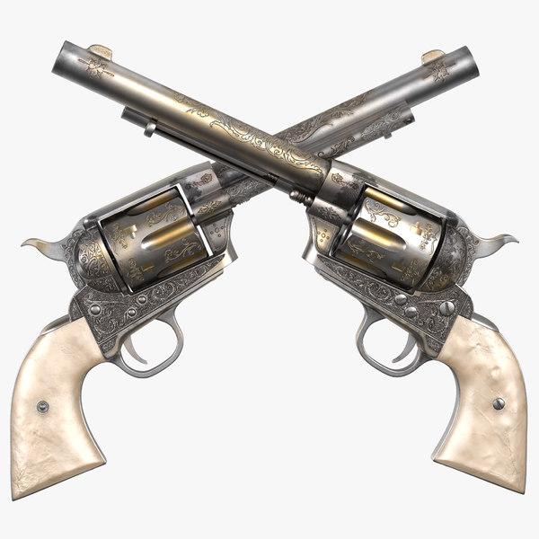 3d model revolver modeled realistic