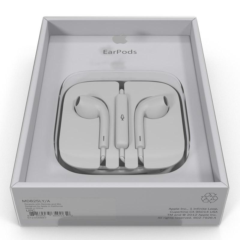 3d model apple earpods remote mic