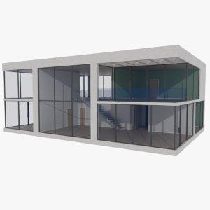 3d model modernist house interior