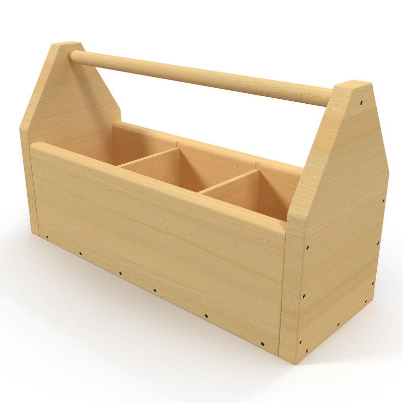 3d model wooden tool box