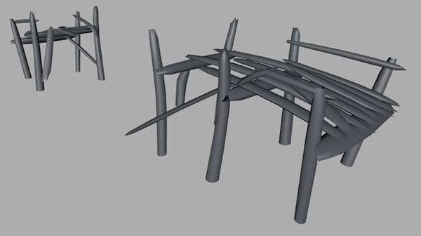 3d model damaged bridge