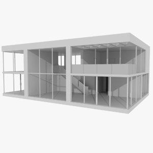 obj modernist house interior