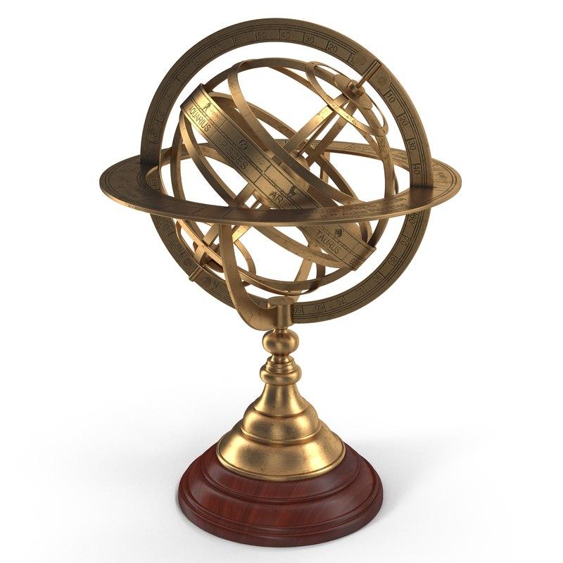 antique globe 4 3d model
